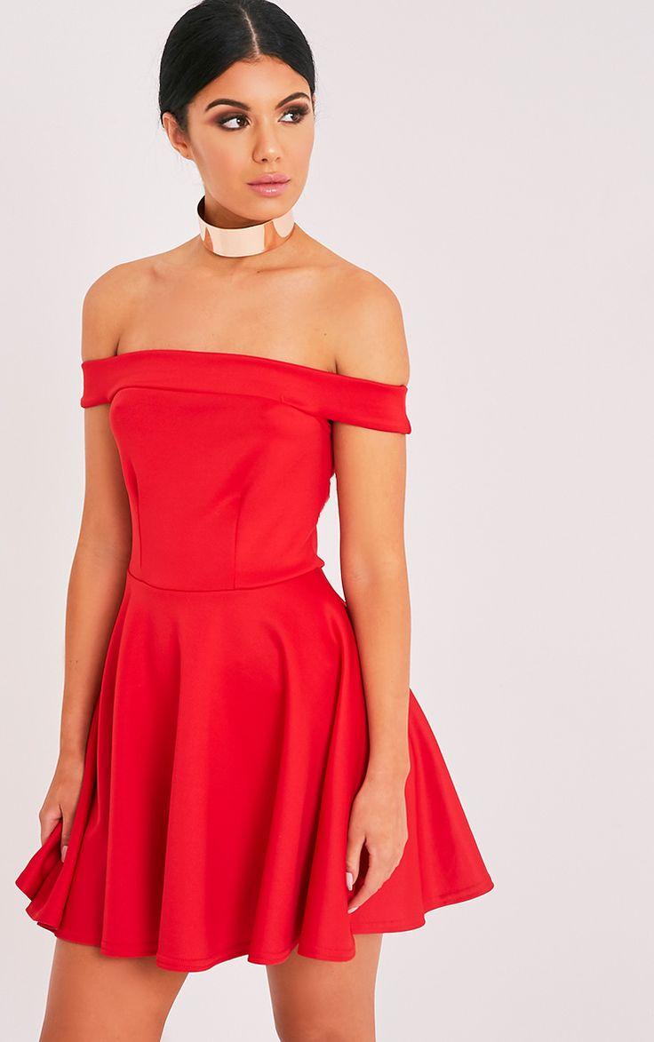 Monica Red Bardot Skater Dress
