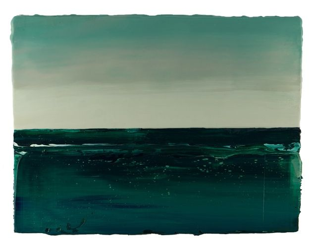 Anke Roder Groene Zee- Green Sea Oils and encaustic on wooden panel 31cm x 40cm