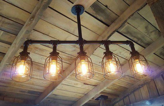 Custom Industrial Lighting Chandelier- Edison Bulb Iron Pipe Ceiling Light- Industrial Farm House Chandelier- Rustic Lighting- FREE SHIPPING