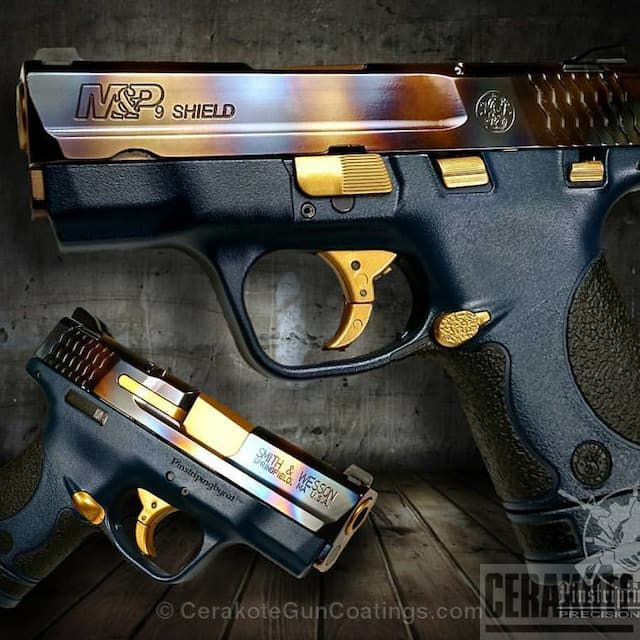 Mobile-friendly version of the 1st project picture. Smith & Wesson, Custom Mix, M&P Shield, Pistol, M&P Shield 9mm, NRA Blue H-171Q, Gold H-122Q, Midnight Blue H-238Q