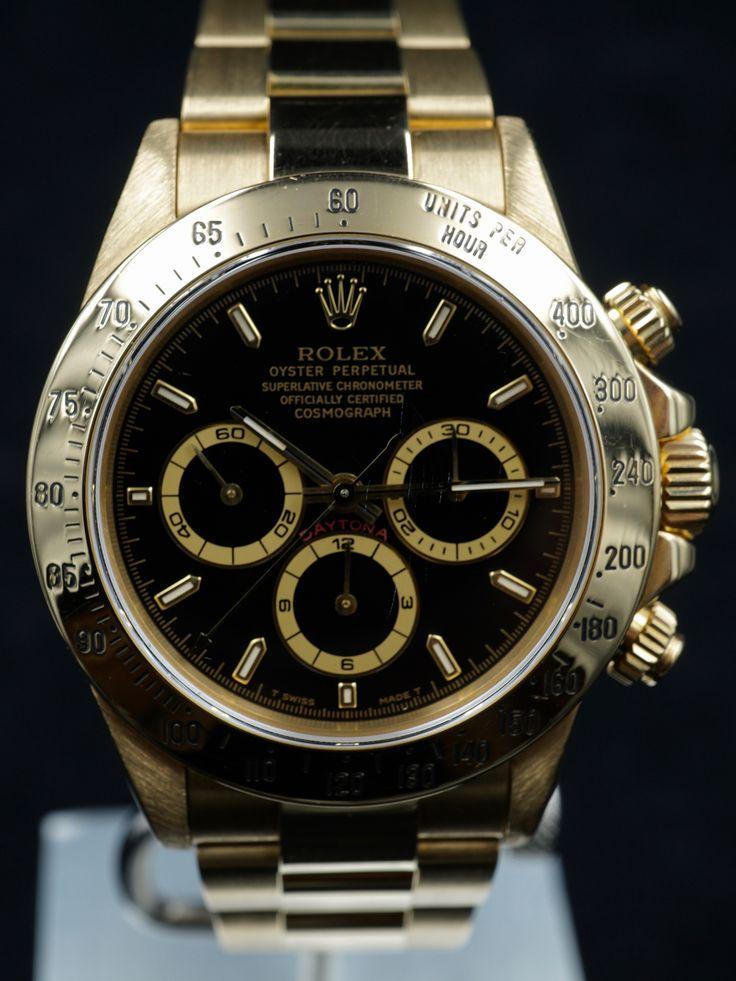 """1997 Rolex Daytona Ref. 16528 """"Zenith Era"""" 18k YG Black Dial"""