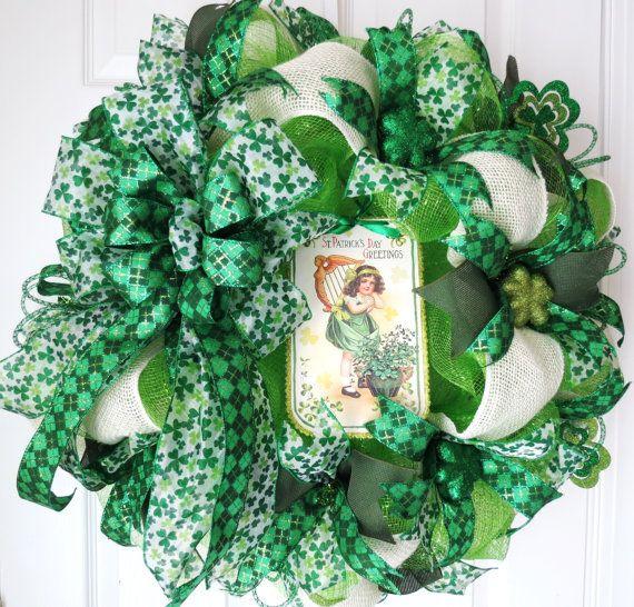 St Patricks Day Deco Mesh Wreath St Patricks by FestivalofWreaths, $115.00