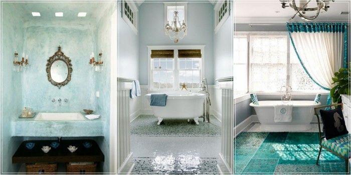 Idee per arredare un bagno turchese o verde acqua