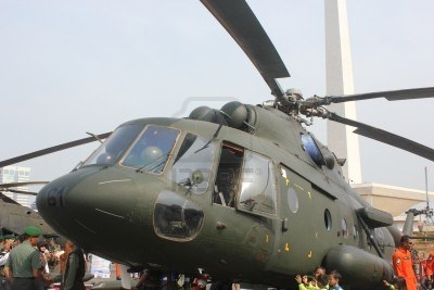 Jakarta, Indonesia, 8 October 2012; military helicopter on display at the Indonesian Army primary weapons defense system's exhibition at the National Monument in Central Jakarta on Monday.