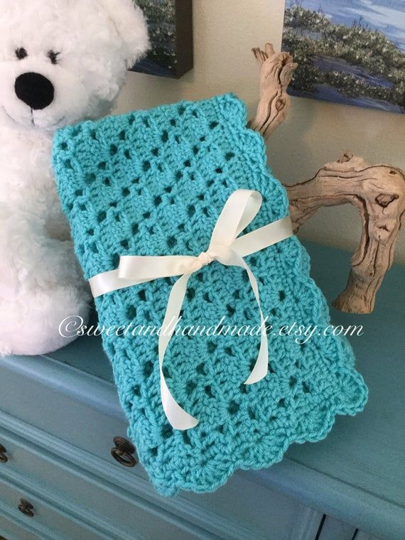 unisex baby blanket gift set crocheted baby afghan turquoise gray and white ready to ship stroller blanket