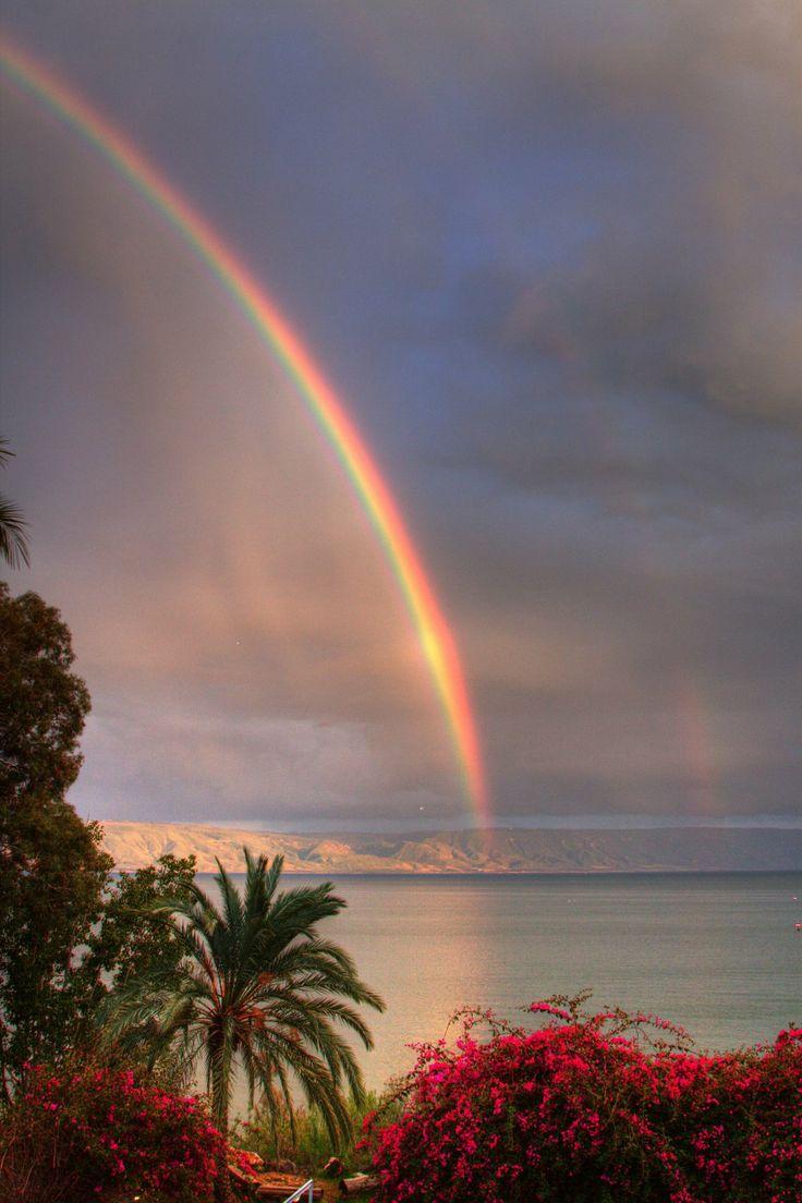 Regenbogen über dem See Genezareth