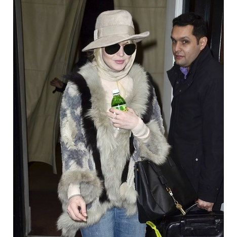 A warm and fuzzy Lindsay Lohan strolled through NYC on Thursday.