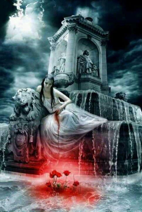 Gothic fantasy art. Il padre la nasconde perche la sus morte genera il risveglio del villaggio decaduto