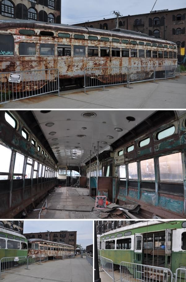 These abandoned streetcars are an unusual sight in a redeveloping area of Brooklyn, New York.  Derelict objects and buildings are normally cleared to make way for modern renewal.  But in the reviving waterfront district of Red Hook, the rusting wrecks are as much a part of the streetscene as the converted warehouses.