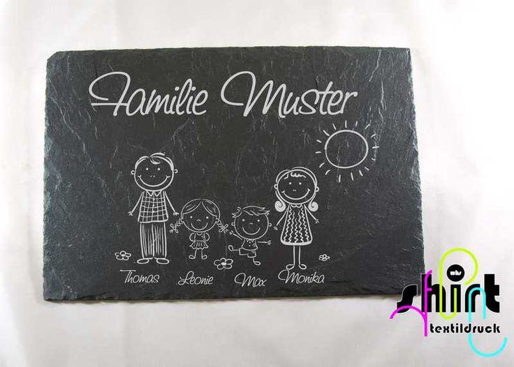 Namensschild Türschild Schiefer Familie Hund von WHS-Textildruck auf DaWanda.com