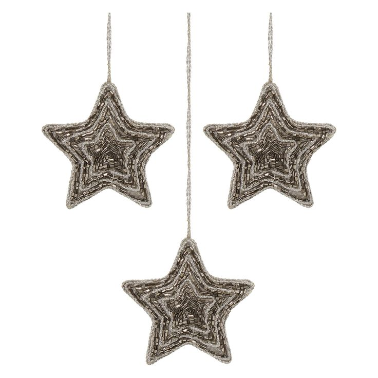 Bella Lux Set Of 3 Beaded Hanging Star Decorations Tk