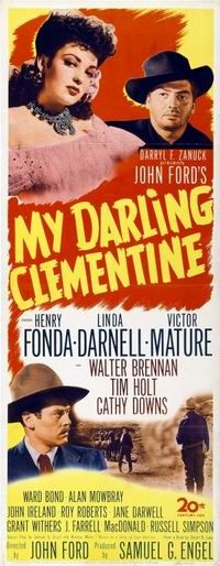"My Darling Clementine is a 1946 western movie.It was directed by John Ford, and based on the story of the Gunfight at the O.K. Corral between the Earp brothers and the Clanton gang. It features an ensemble cast including Henry Fonda, Linda Darnell, Victor Mature, Walter Brennan, and others.  The movie was adapted by Samuel G. Engel, Sam Hellman, and Winston Miller from the book Wyatt Earp: Frontier Marshal by Stuart N. Lake. The title derives from the folk song ""Oh My Darling, Clementine"""