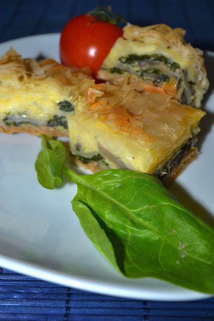Spinach, mushrooms and Mozzarella Pie #pie