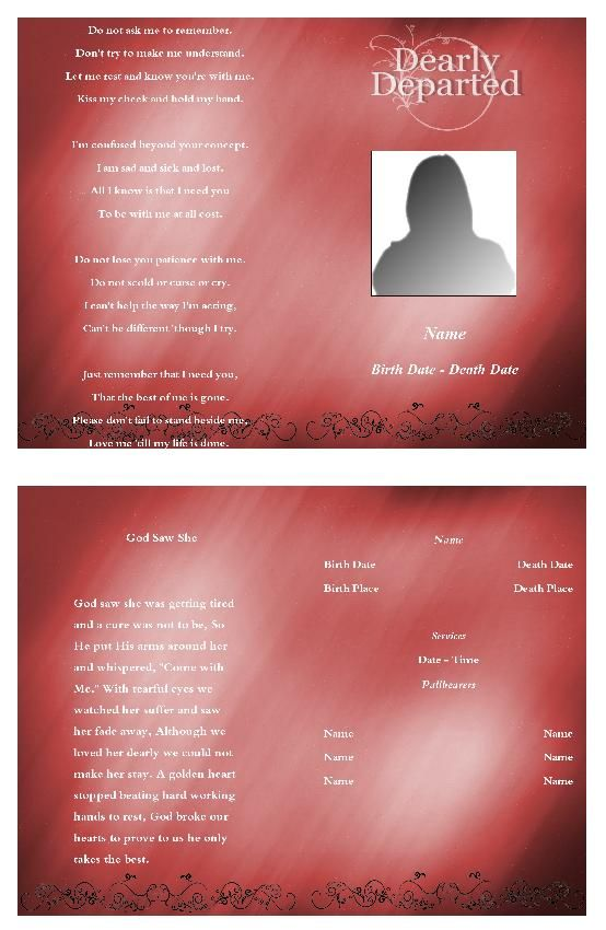 91 best Funeral Program Template images on Pinterest Christmas - funeral announcement template free