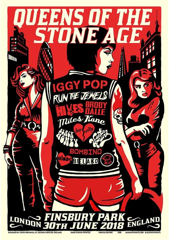 Queens Of The Stone Age Iggy Pop Miles Kane 30th June 2018 Jacknife Prints Queens Of The Stone Age Rock Poster Art Music Concert Posters