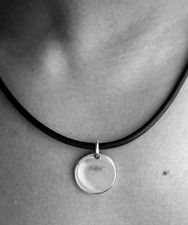 Black Cord Necklace with Minimalist Charm