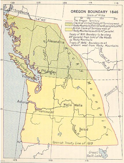The Oregon Treaty, made with Britain, officially brings Washington, Oregon, Idaho, and parts of Montana and Wyoming into the US.