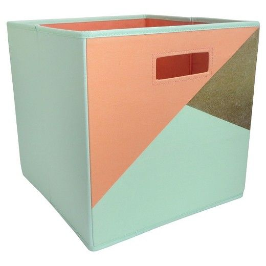 """The Fabric Cube Storage Bin (13""""x13"""") Mint & Cream from Pillowfort™ offers a stylish storage solution for clothing or small toys. It's perfect for a kids' room, home office, laundry room or craft room. Mix and match colors and prints for a creative look."""
