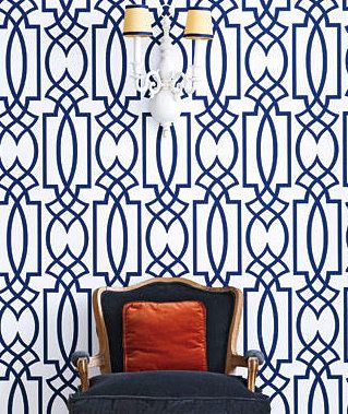 statement patterns...navy and white trellis wallpaper