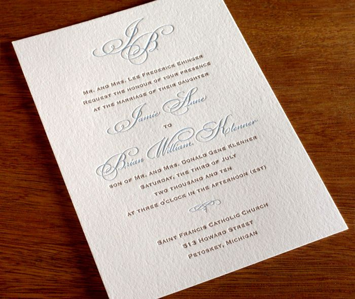 blacktie letterpress wedding invitation - monogram invitation