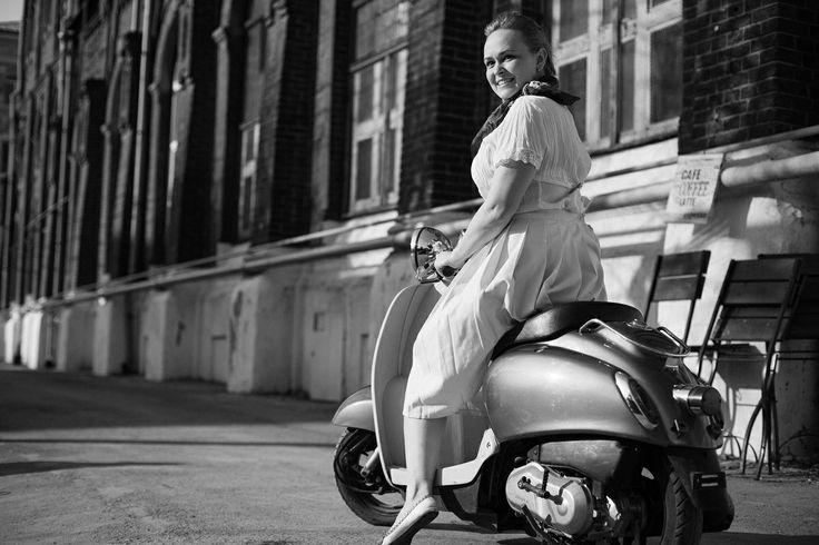 retro, vintage, girl, moto