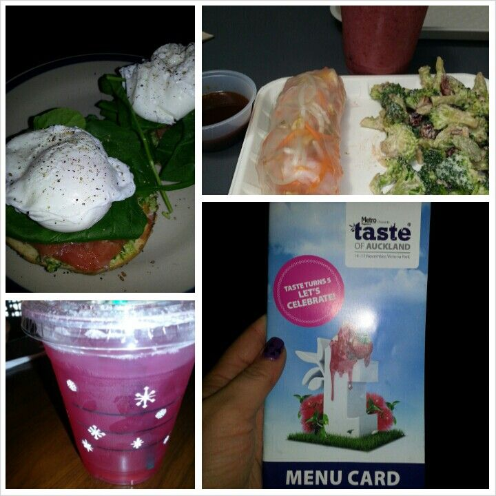 16 November 2013 Breakfast: bagel with pesto, salmon, spinach and poached eggs Lunch: prawn rice paper roll with broccoli salad and a smoothie Dinner: tasting plates at taste of Auckland Snack: iced tea