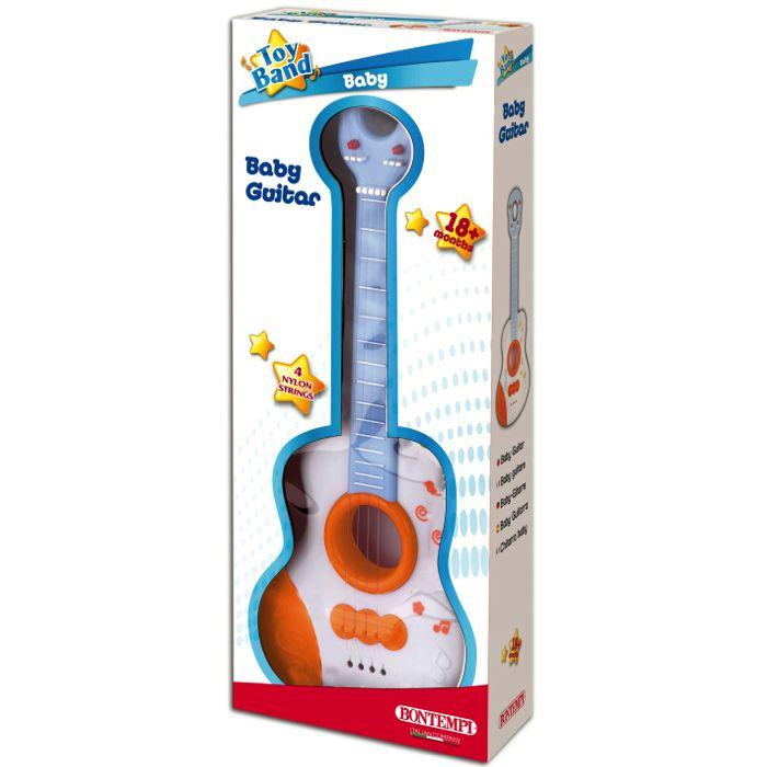 Babyguitar til små børn fra 0 mdr. Guitaren har fire strenge af nylon og er produceret af Bontempi.