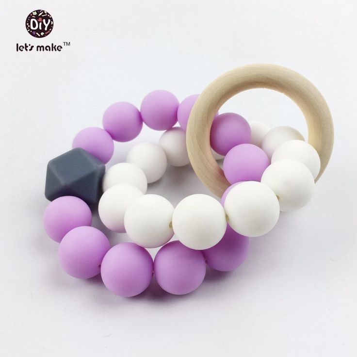 Let's make Silicone Pacifier Clip Purple Hex/geometric Beads Round Sillicone Beads Wood Ring Baby Gift Mom Bracelet Baby Teether