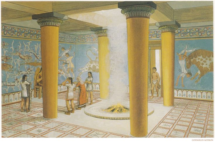 Reconstruction of the Mycenaean palace of Tiryns' megaron, circa, 1300 BC. (Peter Connolly/Ancient Greece/user: Aethon)