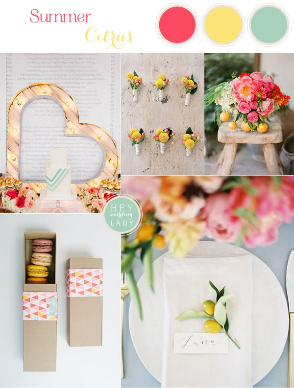 Summer Citrus - Modern Wedding Inspiration in Coral, Yellow, and Aqua | See More! http://heyweddinglady.com/summer-citrus-wedding-inspiration-in-coral-yellow-and-aqua/