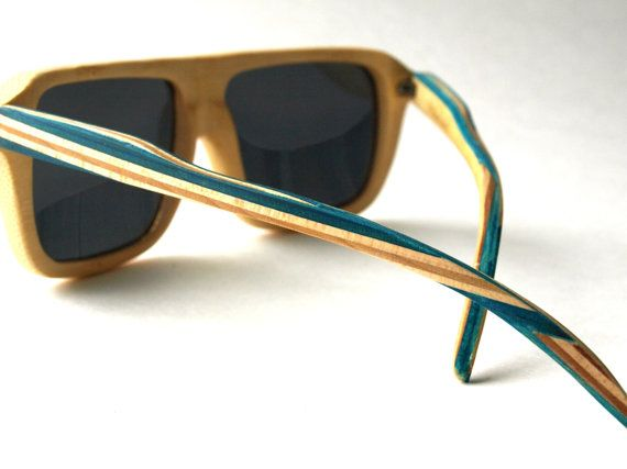 Recycled Skateboard Sunglasses  Bamboo by SecondShot on Etsy,