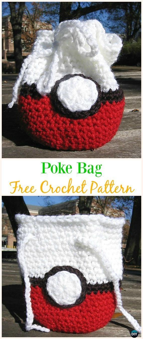 Poke Bag Free Crochet Pattern -#Crochet Drawstring #Bags Free Patterns