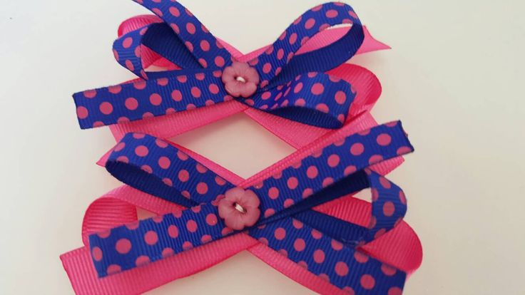 Pair of Pink and Navy Blue Hair Bows,  Girls Hair Bows, Unique Hair Bows,  Toddler Hair Bows,  Polka-dot Hair Bows by LudicBows on Etsy