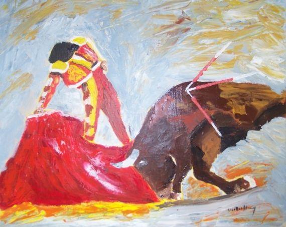 TABLEAU PEINTURE tableau taureau corrida acrylique Scène de genre Acrylique  - la corrida