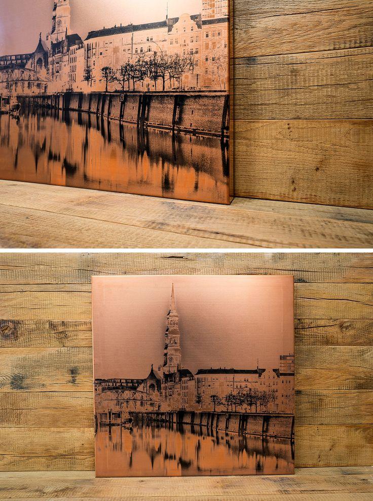 UV-Digitaldruck auf einem gekanteten Kupferblech | Direktdruck Hamburg