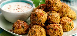 Middle Eastern spices add fragrant warmth to these healthy bite-sized falafels. Perfect as finger-food or serve with couscous and roasted vegetables for a more substantial main meal.