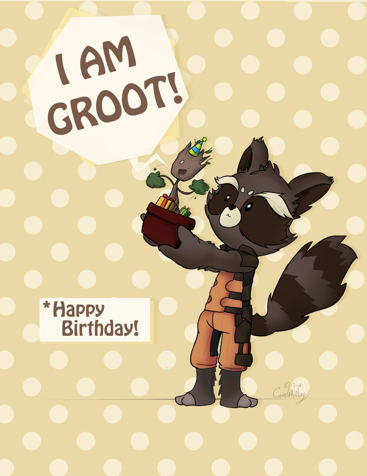 Happy Birthday! From Rocket and Groot by kamy2425