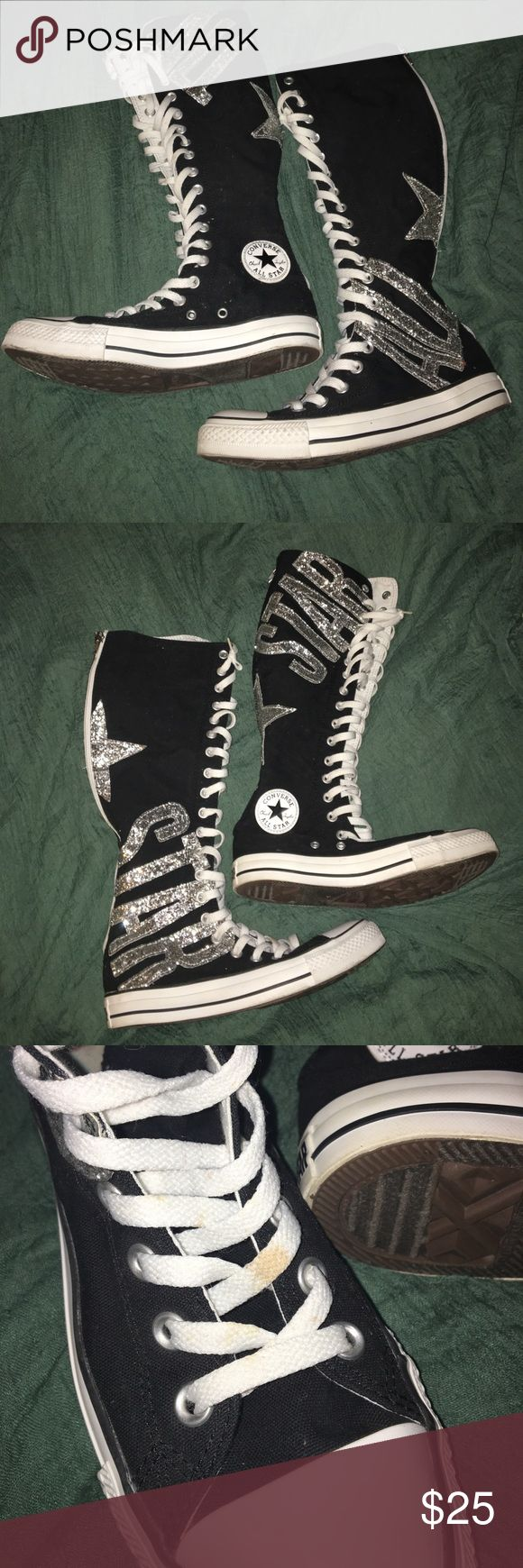 KNEE-HIGH CONVERSE ALL STARS!!!! ZIP UP AND LACE UP KNEE HIGH CONVERSE WITH GLITTER ACCENTS!! PRETTY MUCH BRAND NEW MINUS THE SPOT ON THE LACES AS PICTURED ✨✨✨✨ Converse Shoes