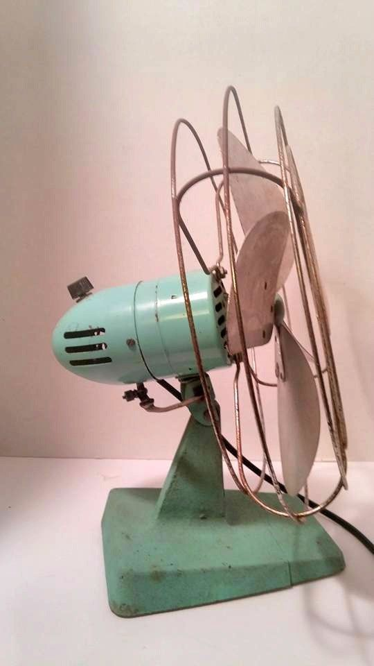 Vintage 1940's/50's Oscillating Teal Metal Industrial Fan - Working Wall Mount