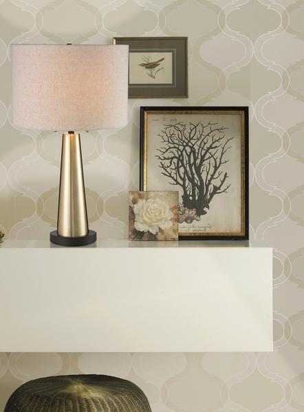 Luce Lumen Emily lampe de table fini doré avec abat-jour beige LL1025.  Convient à la table de nuit, lampe de chevet