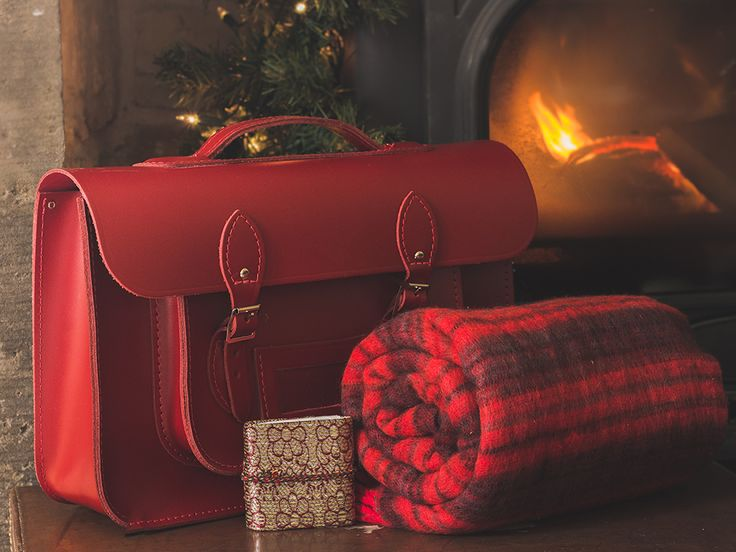 "Christmas gift set. Including Red Leather 15"" Satchel £104, Red Wooly Blanket 108 x 220cm £19.50 & Mini Sari Journal £1.25. www.scaramangashop.co.uk"