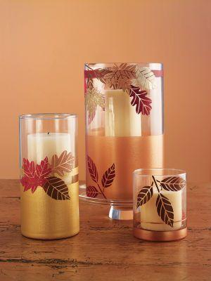Martha Stewart Autumn Hurricanes: Fall Leaves, Fall Decor, Holidays Crafts, Glasses Paintings, Fall Crafts, Holidays Harvest, Candles Holders, Martha Stewart, Harvest Hurricane