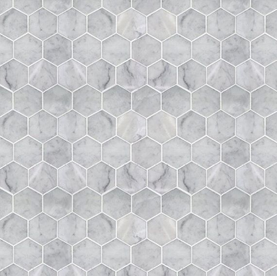 Modern Dollhouse Wallpaper Hexagon Marble Tile Modern