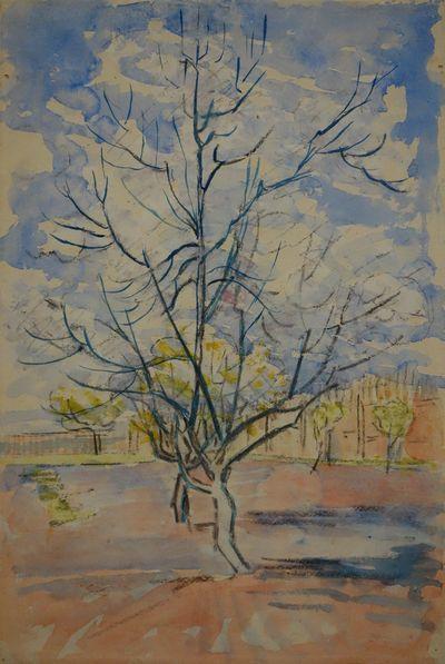 Vincent van Gogh (1853-1890). Pêcher en fleurs, Arles, avril 1888. Fusain et aquarelle sur papier vélin. Amsterdam, Van Gogh. Museum (Fondation Vincent van Gogh).