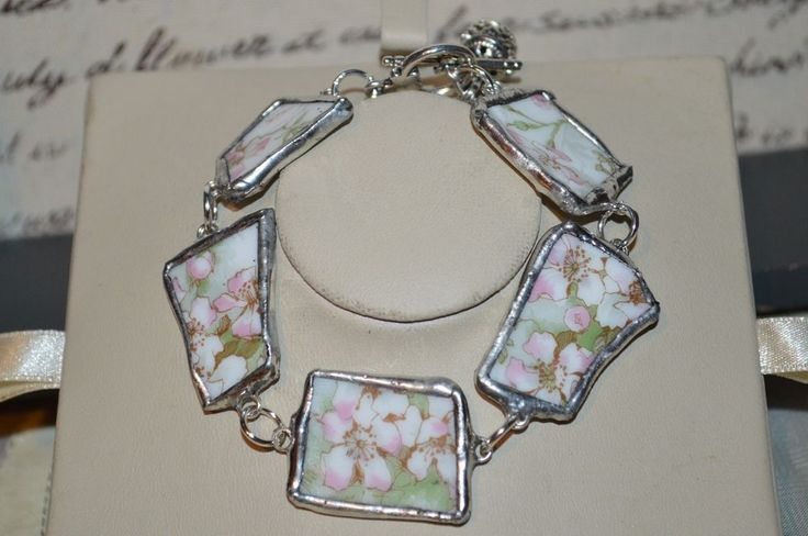 Recycled Broken T.H Haviland Limoges China Jewelry, Apple Blossom Bracelet w/Box #CLyonsDesign #Floral