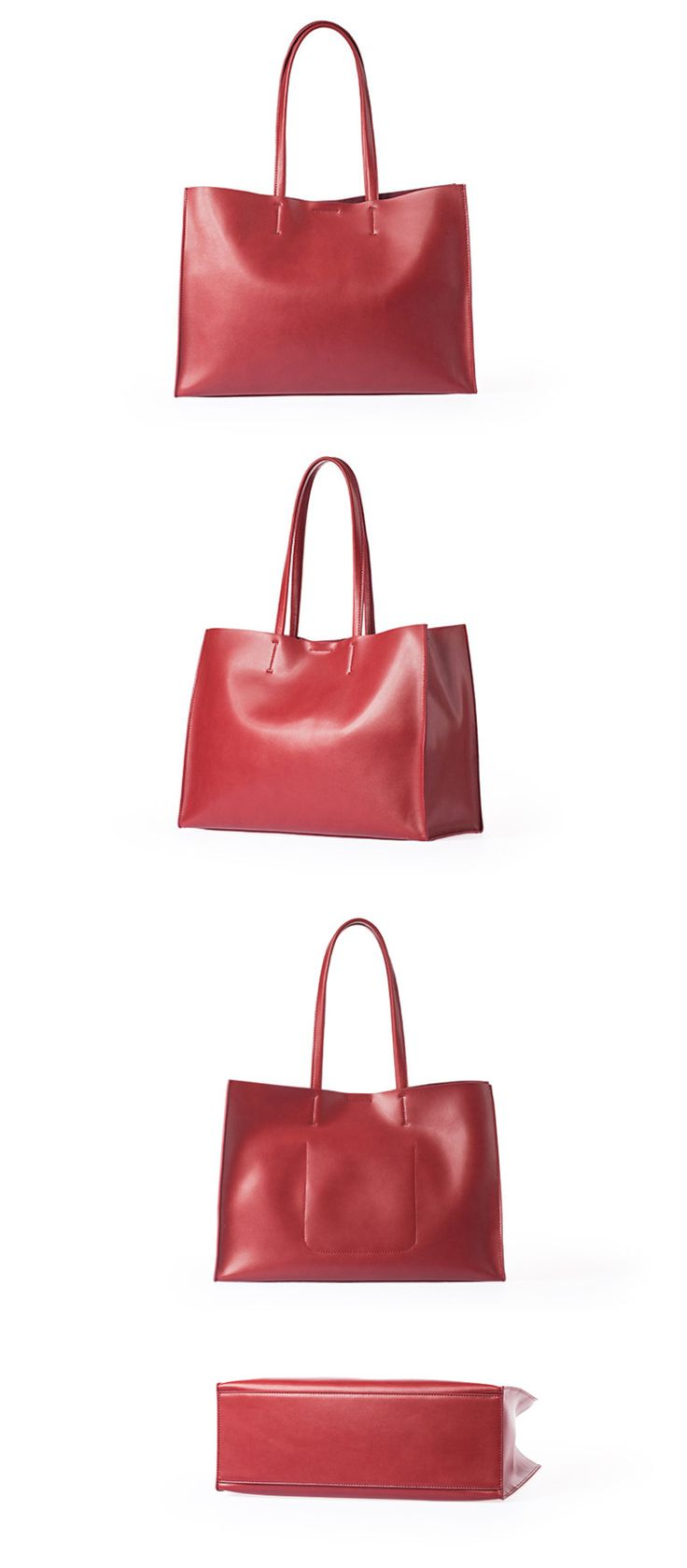 Leather Women Tote Bag Shopping Bag Shoulder Bag •Magnet closure. •Inside a small bag •Brass hardware •Length: 38.5cm; Height: 27cm; Width: 14cm; •Color:Brown/Red