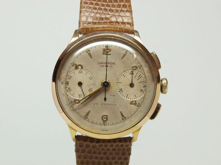 Orologio Cronografo Universal Geneve Compur oro rosa 18 ct 1937 Uni Compax