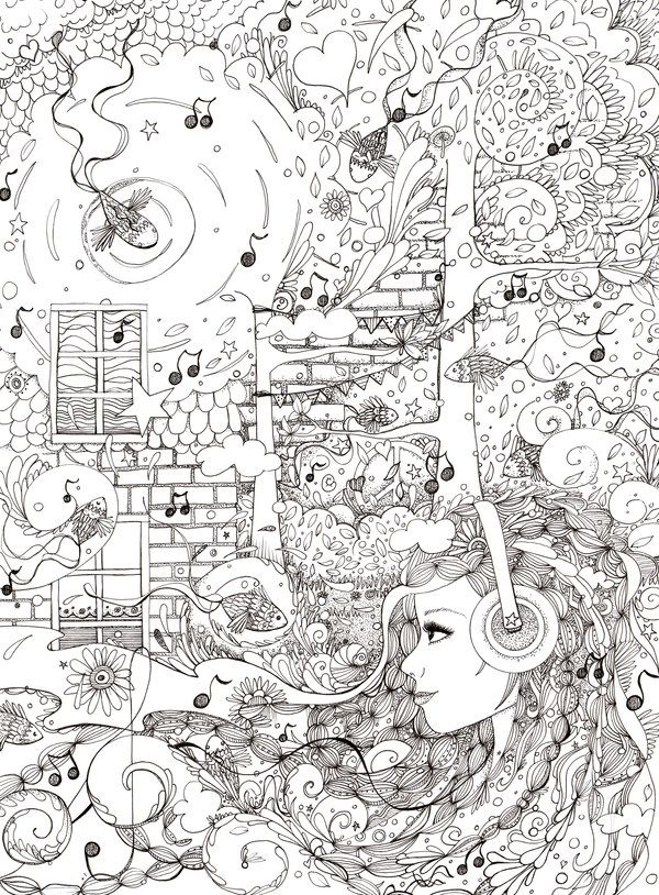 Coloring Page I Sat By The Ocean PagesAdult PagesColoring BooksDetailed PagesDoodle ColoringAnti Stress