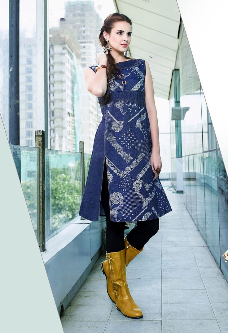 Designer blue cotton denim fancy kurti