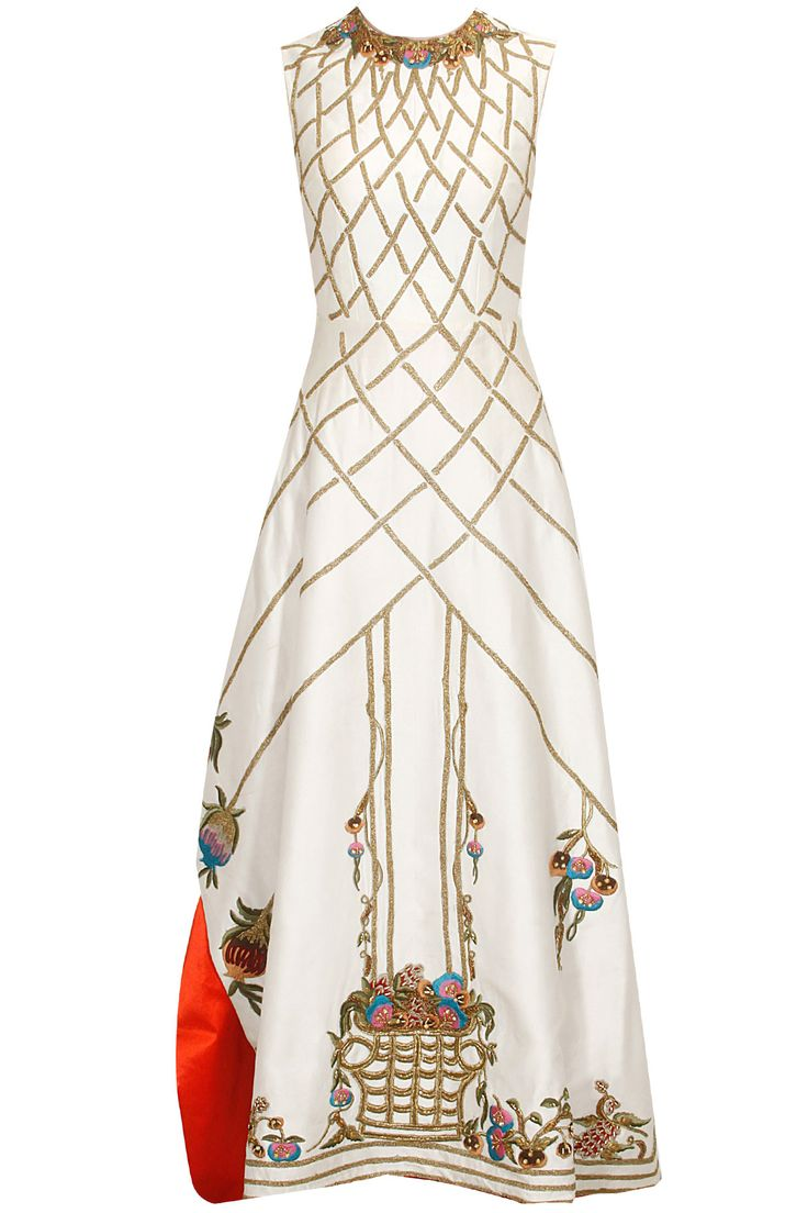 Ivory zari and thread floral embroidered maxi dress available only at Pernia's Pop Up Shop.